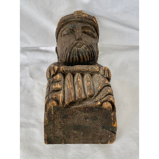 Vintage Hand Carved Wooden King Sculpture For Sale In New Orleans - Image 6 of 11