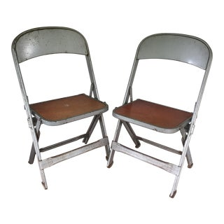 Metal & Wood Children's Chairs - A Pair For Sale