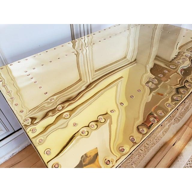 Hollywood Regency 1970s Hollywood Regency Sarreid Brass 3 Drawer Chest For Sale - Image 3 of 11