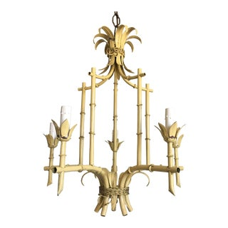 1950s Italian Bamboo Pagoda Chandelier For Sale