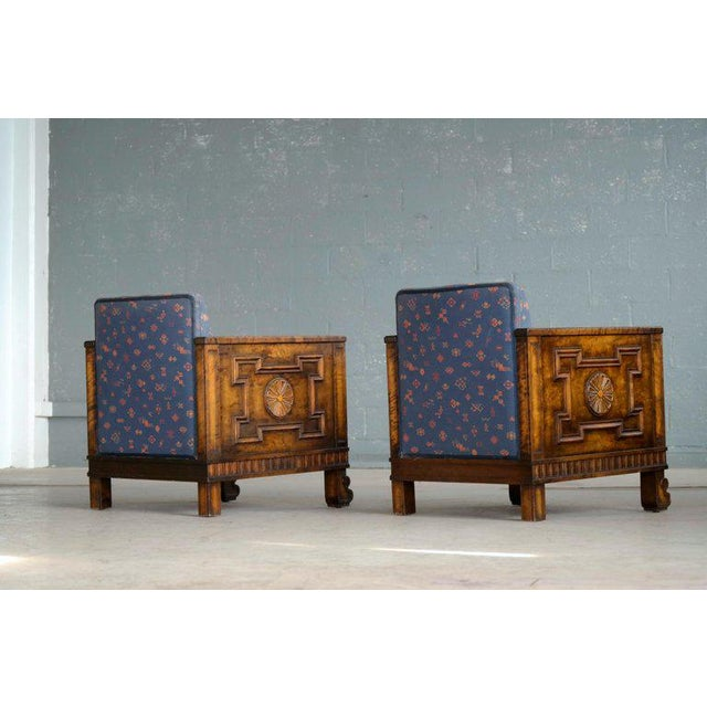 Axel Einar Hjorth Flamed Birch Lounge or Club Chairs, Sweden, 1930s - a Pair For Sale - Image 10 of 13