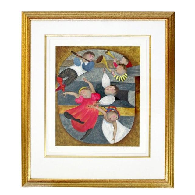 Mid-Century Modern Gold Framed Lithograph Signed by Graciela Boulanger For Sale