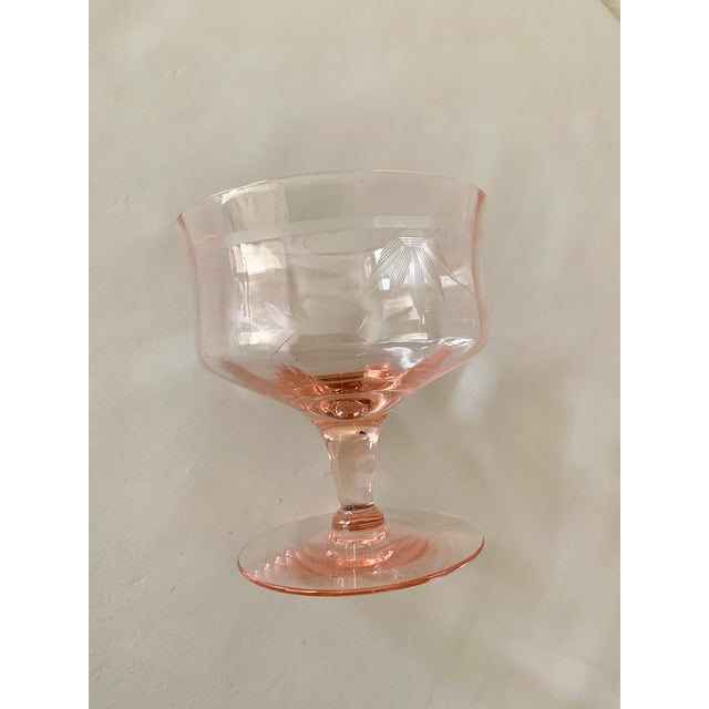 Blush Pink Etched Set of Six Vintage Champagne Cocktail Glasses For Sale - Image 9 of 13