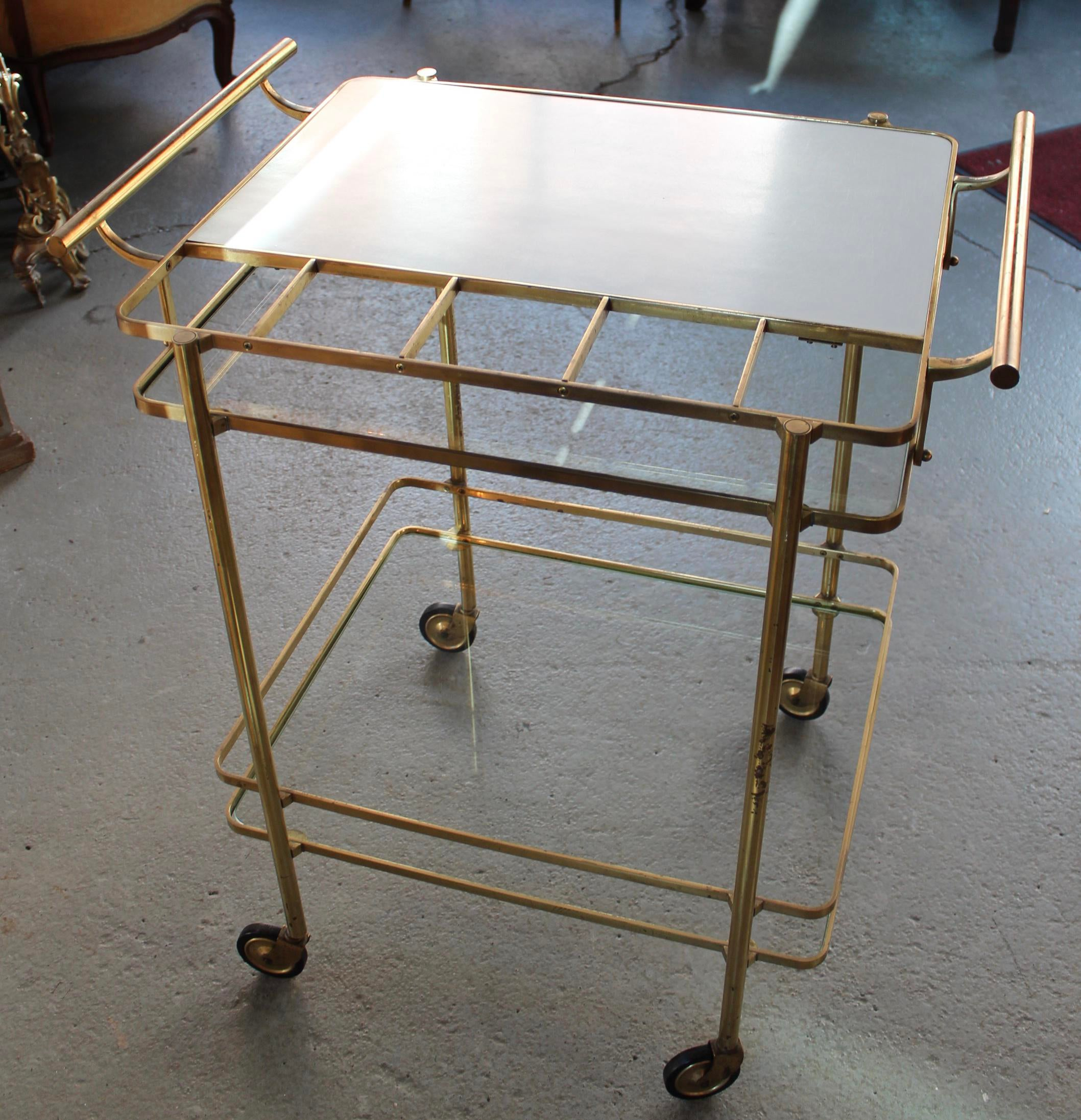 Fabulous Vintage Midcentury Brass And Glass Bar Cart Image Of