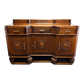 Antique English Art Deco Quartersawn Tiger Oak Sideboard / Bar For Sale