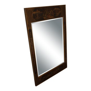 Henredon Chinoiserie Painted Burl Wood Beveled Wall Mirror For Sale