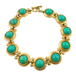 Edouard Rambaud Paris Signed Choker Necklace Gilt Metal and Turquoise Cabochon For Sale
