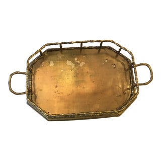 Hollywood Regency Brass Bamboo-Style Tray For Sale
