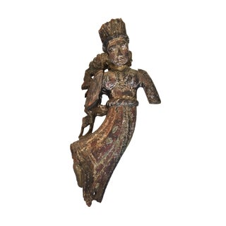 Lg Antique Crowned Angel Wood Sculpture For Sale