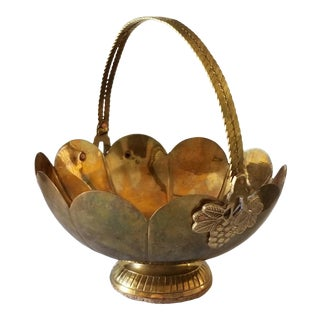 Vintage Brass Basket With Dual Articulated Handles Italian Grapes For Sale