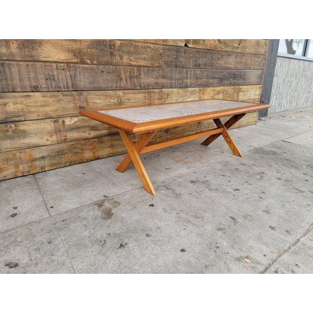 1980s Vintage Tile Top Coffee Table For Sale In Los Angeles - Image 6 of 13