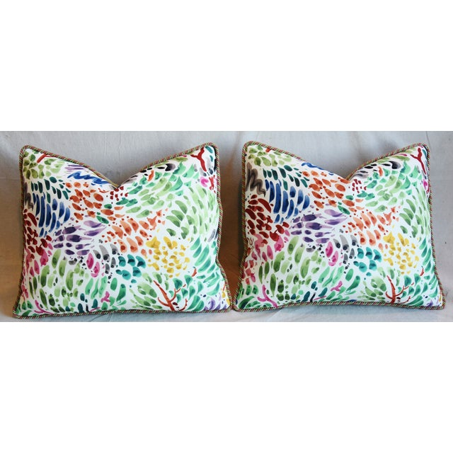 """Clarence House Fabric and Scalamandre Mohair Feather/Down Pillows 23"""" X 19"""" - Pair For Sale In Los Angeles - Image 6 of 13"""