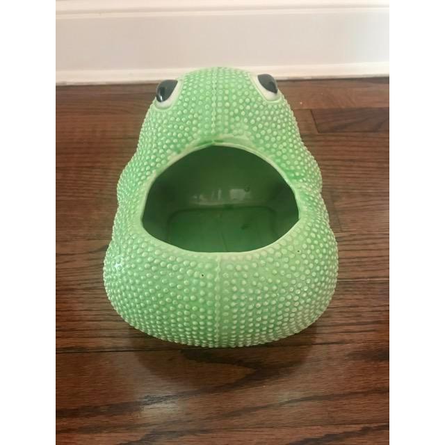 Green Ceramic Frog Planter For Sale - Image 4 of 6