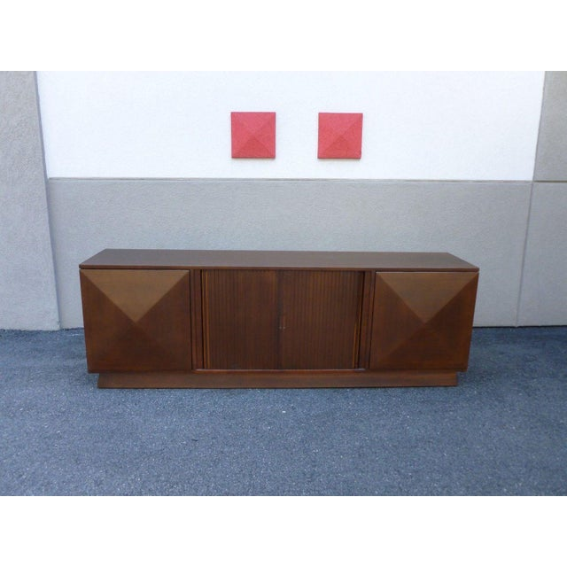 Superb & stunning Mid Century Modern Danish Modern credenza with what we believe to be teak & walnut wood with pyramid &...