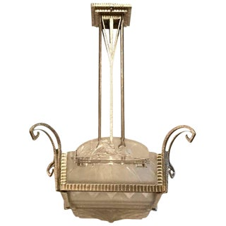 French Art Deco Geometric Chandelier Signed by Muller Freres Luneville For Sale