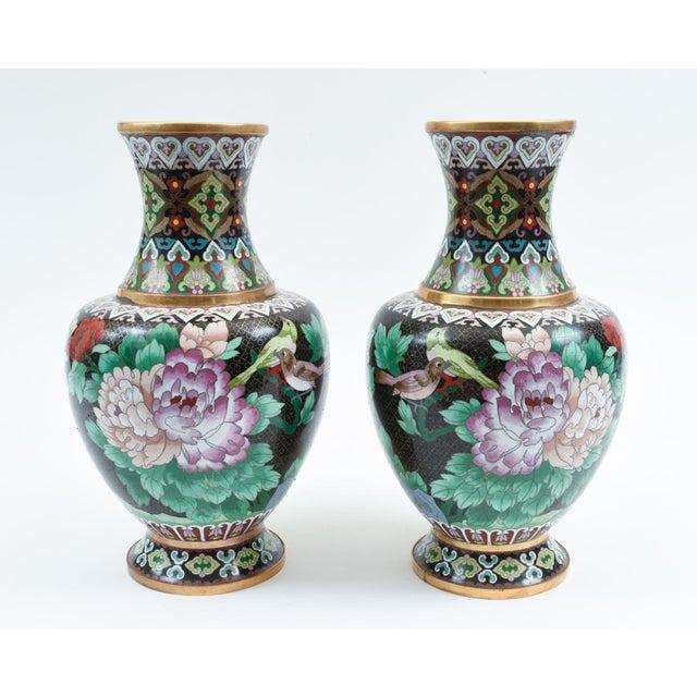 Black Mid-20th Century Colorful Cloisonné Decorative Vases - a Pair For Sale - Image 8 of 13
