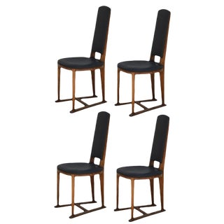 Early 20th Century Arts & Crafts Slender Oak Sledge Chairs - Set of 4 For Sale