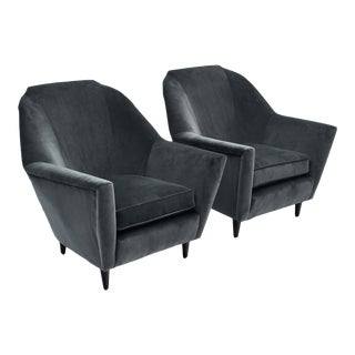 Italian Dark Grey Velvet Armchairs by Carlo DI Carli - a Pair For Sale