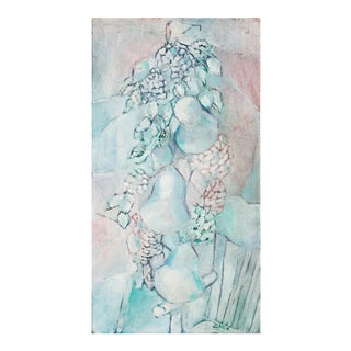 'Garland of Pears in Rose & Blue', Large 1960s Oil For Sale