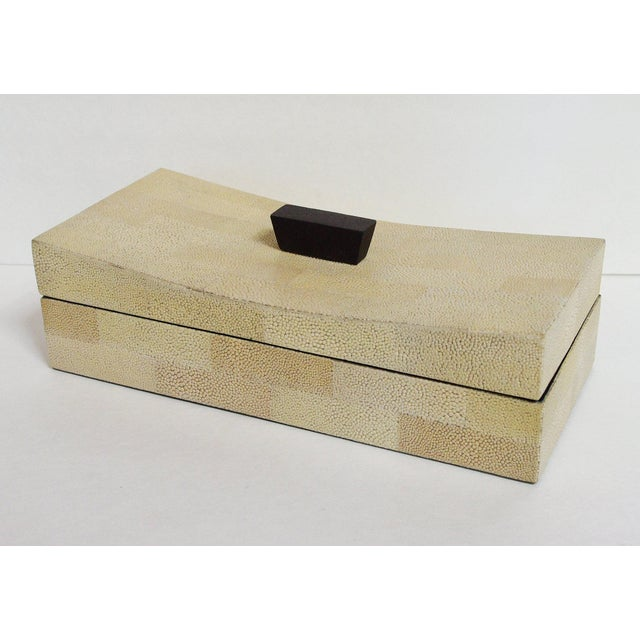 Beige shagreen box with curved lid Depth: 6 inches / Width: 12 inches / Height: 4.5 inches 2 in stock in Palm Springs...