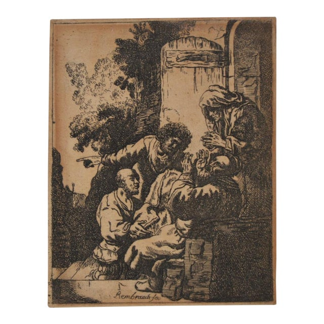 """""""Joseph's Coat Brought to Jacob"""" After Rembrandt Etching in Reverse 18th to 19th C. For Sale"""