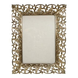 Vintage Gilt Filigree Pierce Cut Hollywood Regency Photo Frame