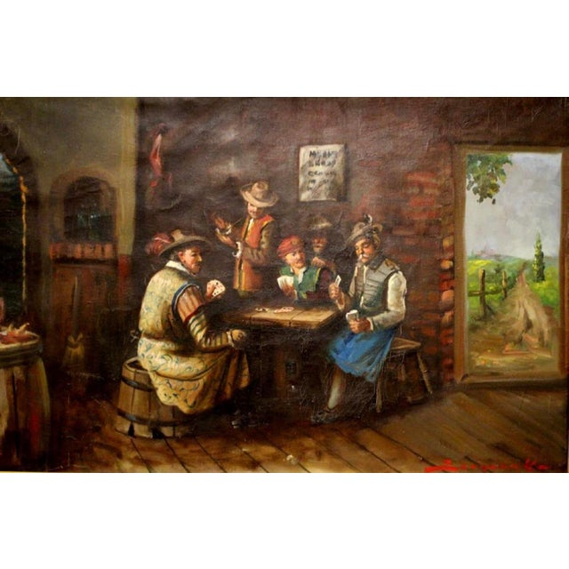 Signed German style oil painting on canvas depicting an interior scene of men playing cards. Signed in lower right as...