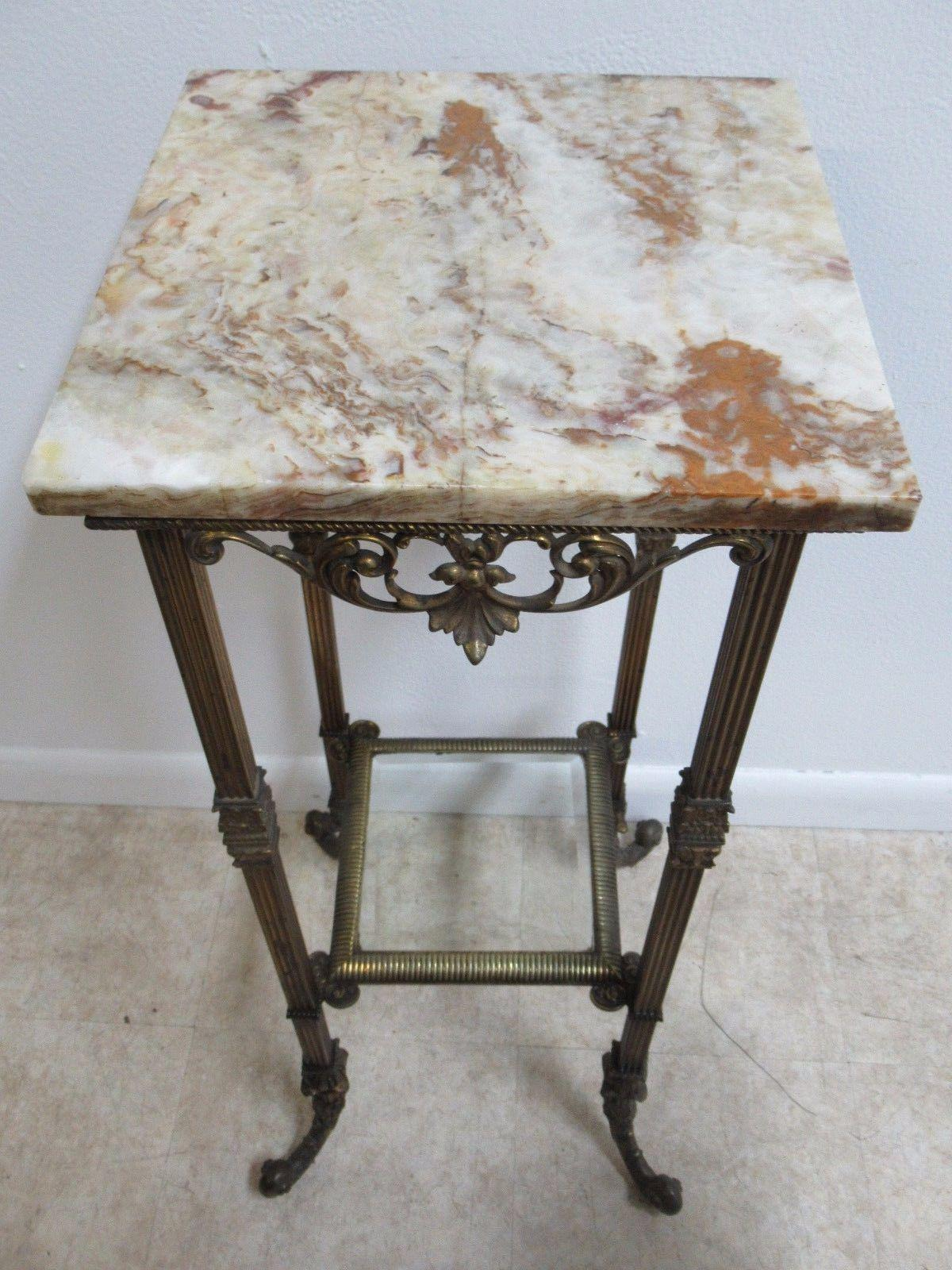 Exceptionnel Antique Victorian Marble Top Pedestal Plant Stand End Table For Sale    Image 5 Of 10