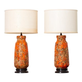 Mid-Century Orange Glaze Ceramic Lamps - a Pair For Sale