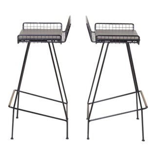 Pair of Tony Paul Iron Bar Stools, 1950s, Usa For Sale