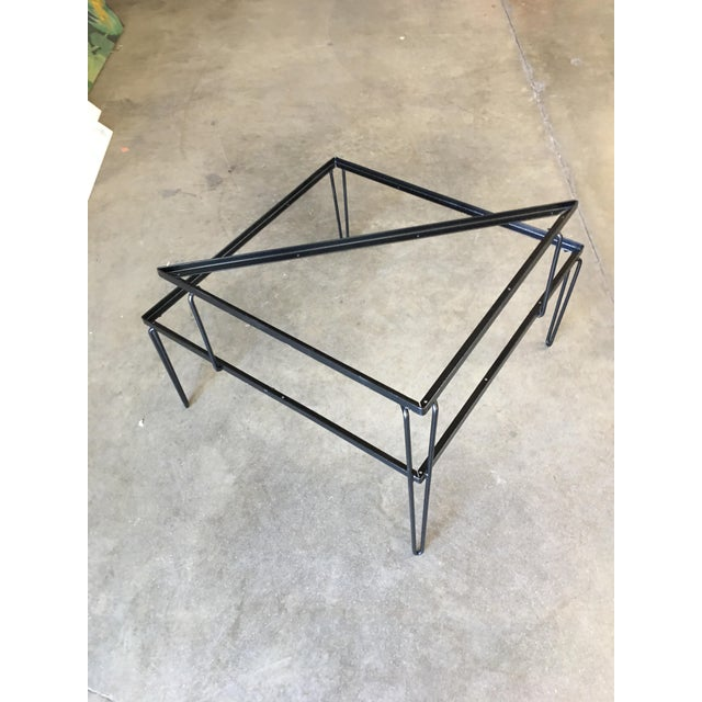 Mid-Century Modern Restored Mid Century Woodard Two-Tier Glass Top Iron Outdoor/Patio Side Table For Sale - Image 3 of 7