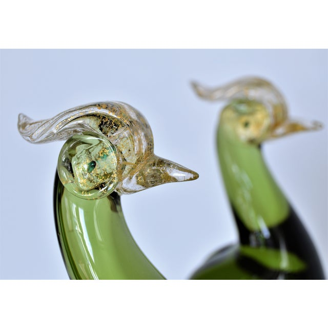 1950s Murano Glass Bird Figurines Sculptures- a Pair For Sale In Miami - Image 6 of 12