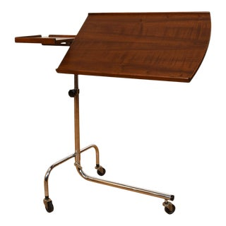 Rolling Danish Modern Walnut Adjustable Music / Tv Tray Stand For Sale