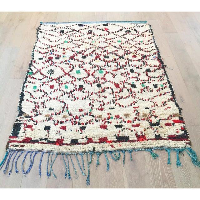 """Vintage Moroccan Wool Rug - 5' x 6'10"""" - Image 4 of 4"""
