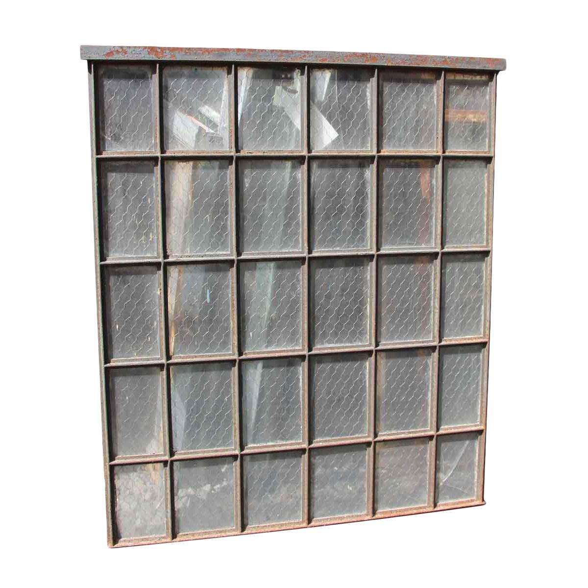 30 Pane Steel Frame Chicken Wire Glass Window | Chairish
