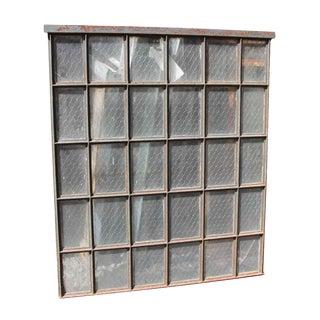30 Pane Steel Frame Chicken Wire Glass Window
