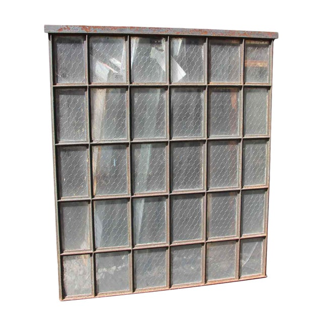 30 Pane Steel Frame Chicken Wire Glass Window - Image 1 of 5