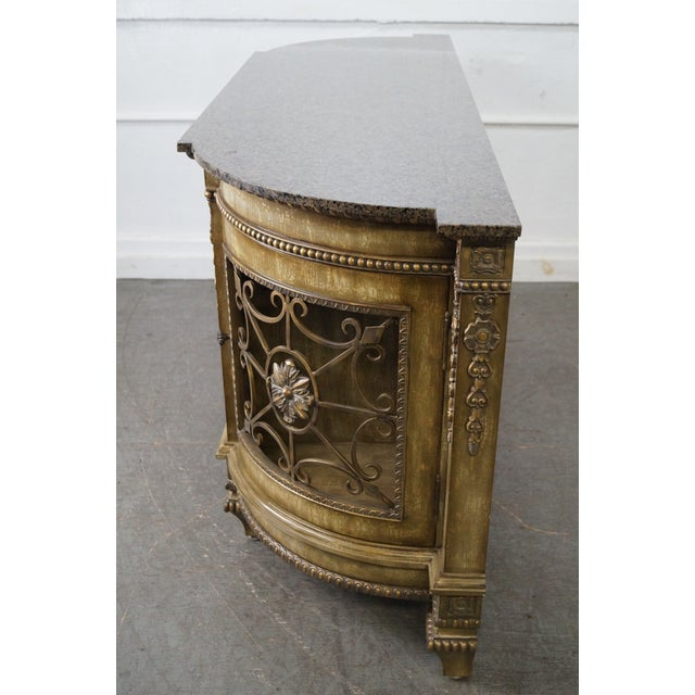 Faux Painted French Style Marble-Top Sideboard with Iron Doors - Image 3 of 10