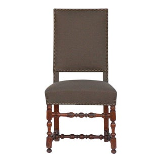 Pair of Classic Turned Wood Louis XIII Style Side Chairs For Sale