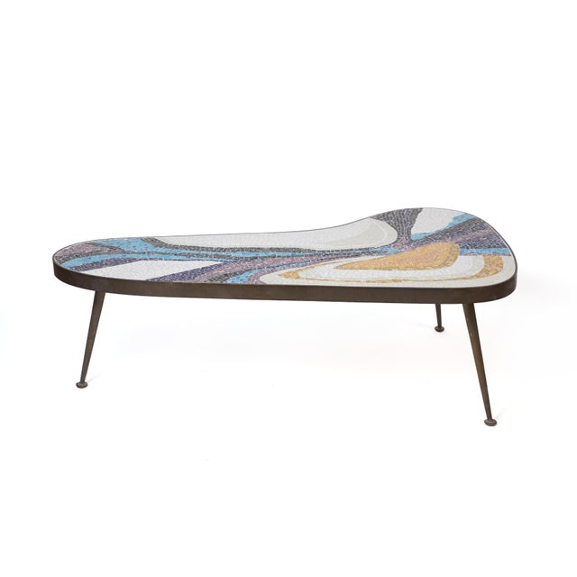 Abstract Abstract Margot Stewart Mosaic & Patinated Brass Free-Form Coffee Table For Sale - Image 3 of 7