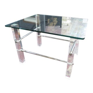 1960s Mid Century Modern Glass Lucite and Chrome Side Table For Sale