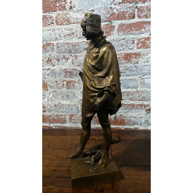 19th century Fabulous Bronze Sculpture of a Renaissance Artist -Signed Solid bronze sculpture of a Renaissance Artist -...