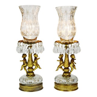 Hollywood Regency Cherub Prism Lamps - a Pair For Sale