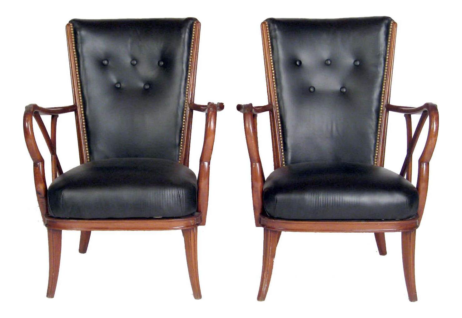 Vintage Mid Century Black Leather U0026 Nailhead Accent Chairs   Pair