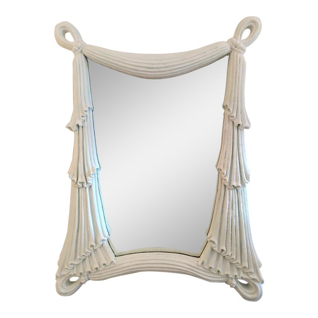 1980's Drapery Styled Framed Mirror, Vintage For Sale