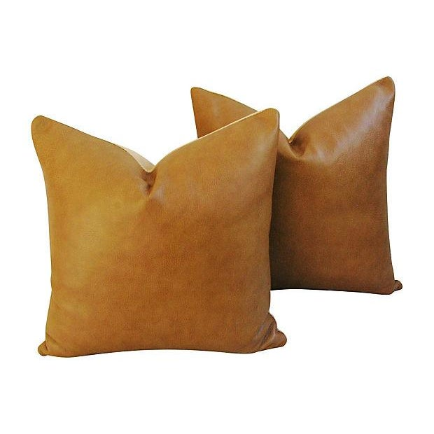 Genuine Italian Golden Tan Leather Pillows - Pair - Image 1 of 4