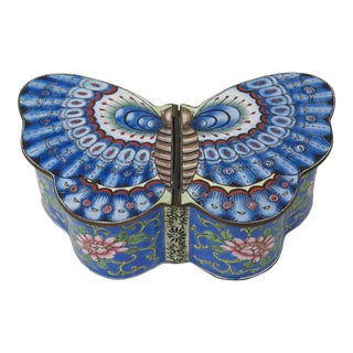 Enameled Blue Butterfly-Form Box For Sale