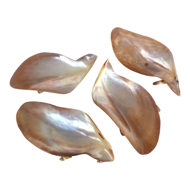 Vintage Seafood Cocktail Pink Abalone Shells Dishes - Set of 4 For Sale
