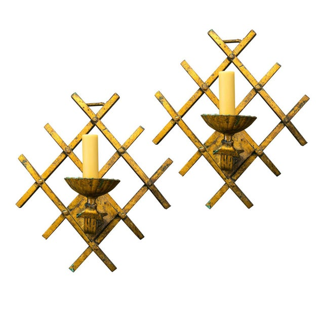 Metal French Gilt-Iron Sconces For Sale - Image 7 of 7