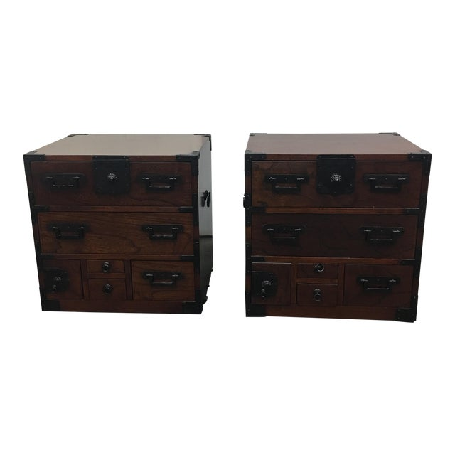 Asian Side Tables With Drawers - A Pair - Image 1 of 7